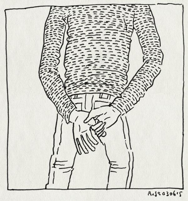 tekening 2931, friemelen, handen, lopen, nadenken, rug, wandelen