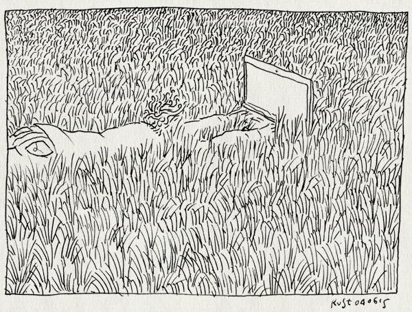 tekening 2932, buiten, burorust, computer, gras, gsa, lente, mac, werken, zon