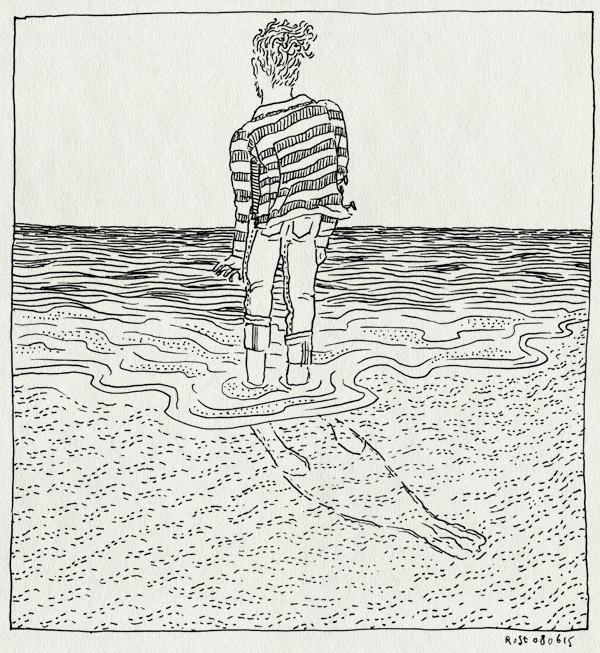 tekening 2936, horizon, pootje baden, selkie, staren, vlieland, zee, zeehond