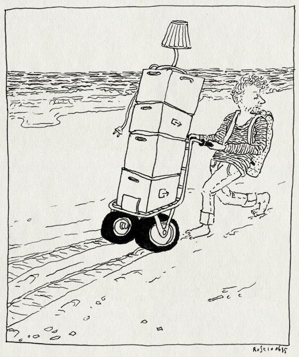 tekening 2938, dozen, lamp, spoor, steekkarretje, strand, verhuisdozen, verhuizen, vlieland, zee