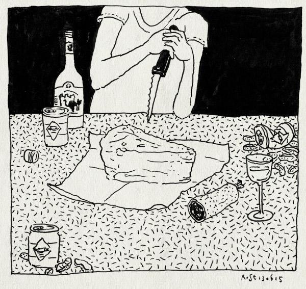 tekening 2941, bier, blikjes, eric, feestje, kaas, mes, nacht, podium vlieland, tim knol, vlieland, wijn