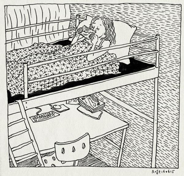 tekening 2944, alwine, ansichtaartm nartine, bed, hoogslaper, missen