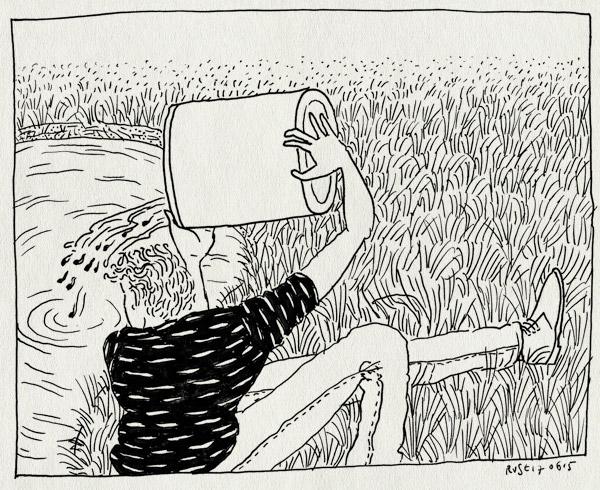tekening 2945, beatrixpark, dikkopjes, emmer, kikkervisjes, klaar, terug, vrij, vrijheid, vrijlaten