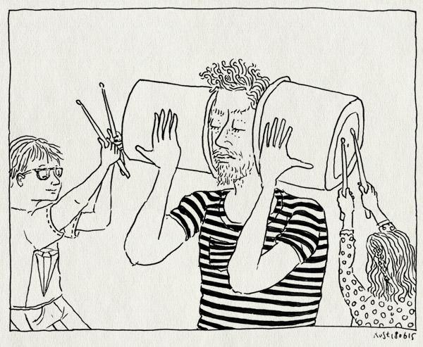 tekening 2946, alwine, concert, emmers, lawaai, midas, school, stokjes, trommel, zingzo