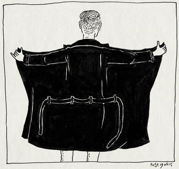 tekening 2947, ben, burorust, gsa, jas, lange jas, potloodventer, stagiair, werk