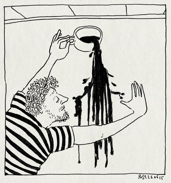 tekening 2954, goos, koffie, koffiemuur, muur, muurschildering, verven, vlek
