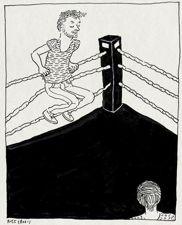 tekening 2956, boksen, boksring, festival, freefight, noordermarkt, touwen, vlutters