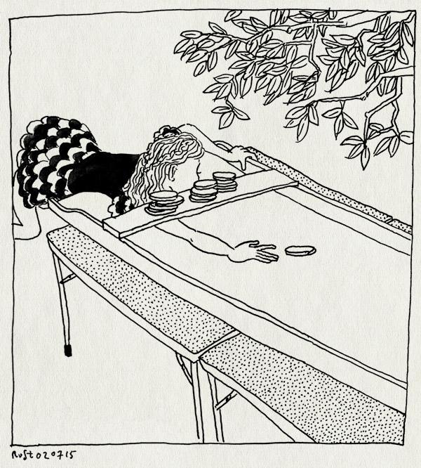 tekening 2960, alwine, annefrankschool, boom, eindfeest, feest, sjoelbak, sjoelen, thee in de tuin