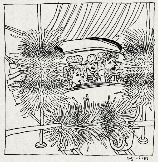 tekening 2964, alwine, carwash, lelijke tekening, midas, monster, polly, wasstraat