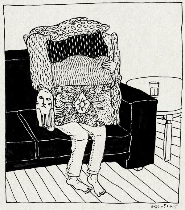 tekening 2966, bank, kussens, thuis, verstoppen