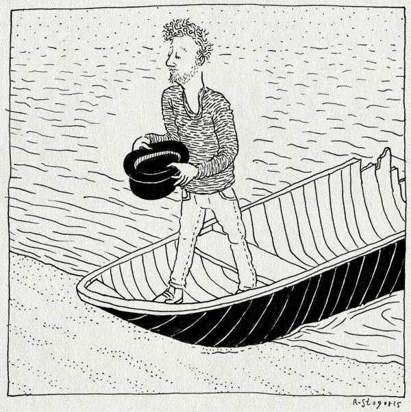 tekening 2967, boot, donatie, hoge hoed, kapot, oever, over 't ij, pont, schipbreukeling, schipper mag ik overvaren, voorstelling, water