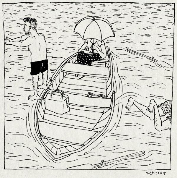 tekening 2969, bon, bootje, duiken, floor, maaike, overboord, paraplu, parasol, riemen, roeiboot, vinkeveense plassen, zwemmen
