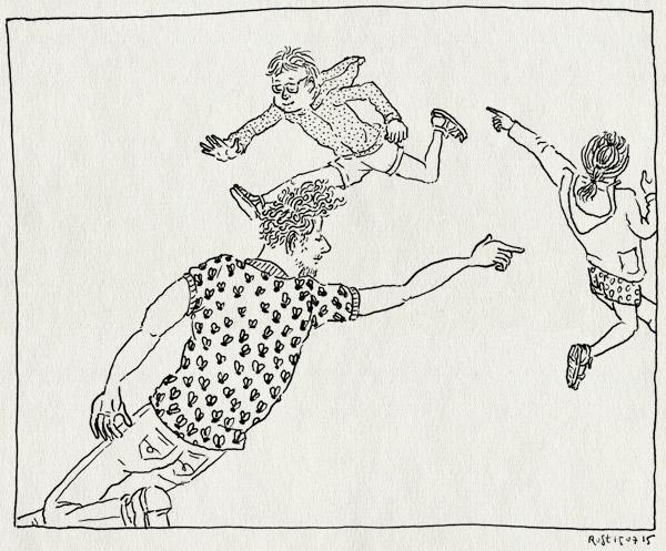 tekening 2973, alwine, dans, gezellig, kikkerprinstikkertje, matisse, midas, tikkertje, tikkie, vliegenshirt