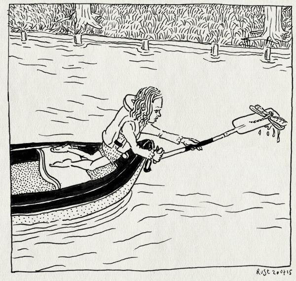 tekening 2978, alwine, amsterdamse bos, kano, kanoën, libelle, oever, roeispaan, zwemvest