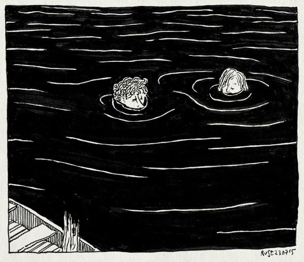 tekening 2981, amstel, boot, nacht, water, zwart, zwemmen