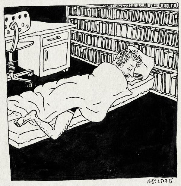 tekening 2983, boeken, bureau, familie wilbrink, festival, gijs, matras, slapen, smal, snurken, studeerkamertje, zwarte cross