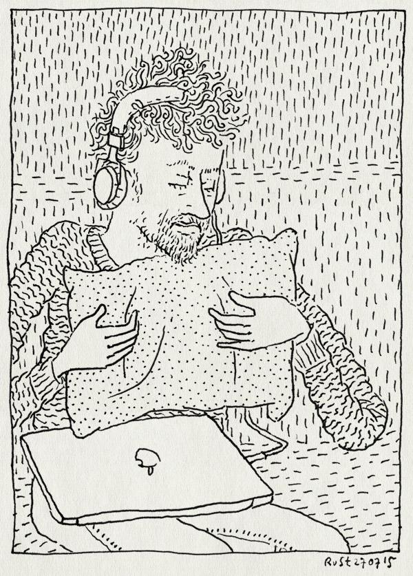tekening 2985, bah, bank, computer, koptelefoon, kussen, muziek, verdriet
