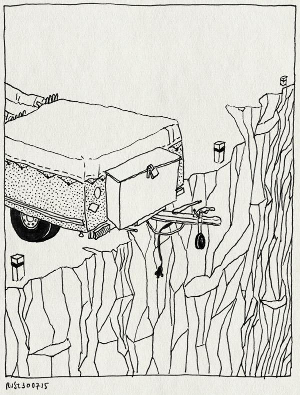 tekening 2988, bah, debacle, duwen, echt niet, ravijn, vakantie, voorbereiding, vouwwagen