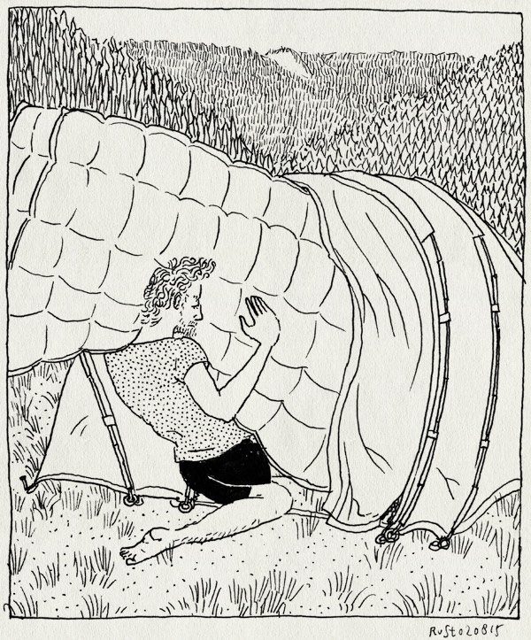 tekening 2991, aerobed, camping, heuvels, lac de longemer, les jonquilles, luchtbed, passen, tent, vakantie