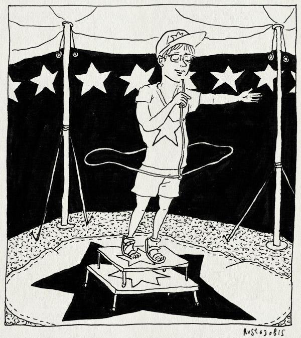tekening 2992, camping, circus, lasso, les jonquilles, longuemer, midas, optreden, publieksparticipatie