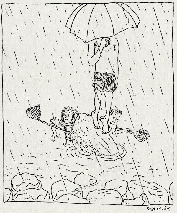 tekening 2993, alwine, camping, frankrijk, lac de longuemer, les jonquilles, midas, netje, netjes, paraplu, regen, steen, vakantie 2015, vissen