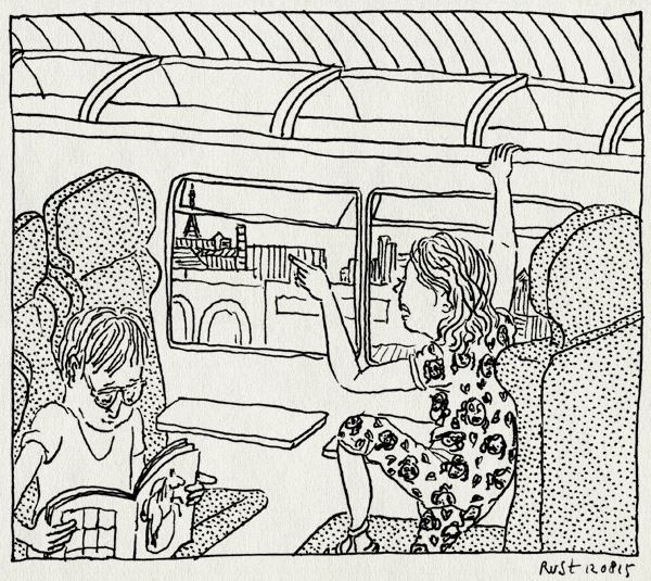 tekening 3001, alwine, eiffeltoren, frankrijk, lezen, midas, parijs, rer, trein, vakantie 2015, versailles, wijzen