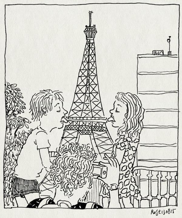 tekening 3002, alwine, eiffeltoren, foto, frankrijk, likken, lolly, midas, parijs, toeristen, vakantie 2015, versailles