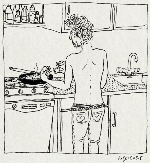 tekening 3004, bakken, eitjes, keuken, ontbijt, pan, spijkerbroek, thuis