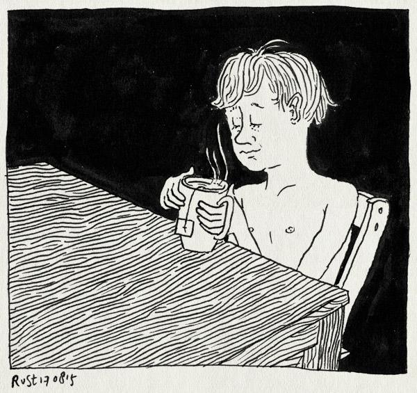 tekening 3006, avondrust, goede nachtrust, kan niet slapen, lief, midas, tafel, thee
