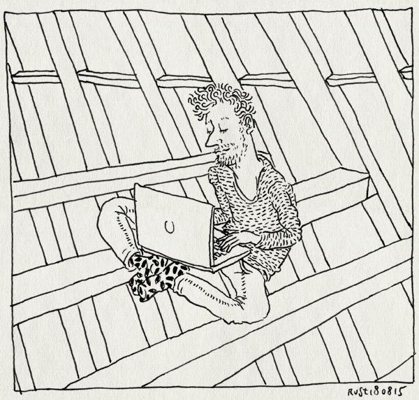 tekening 3007, balken, laptop, lekker, macbook, nh49, thuiskomen, werk, zelfstandig, zolder