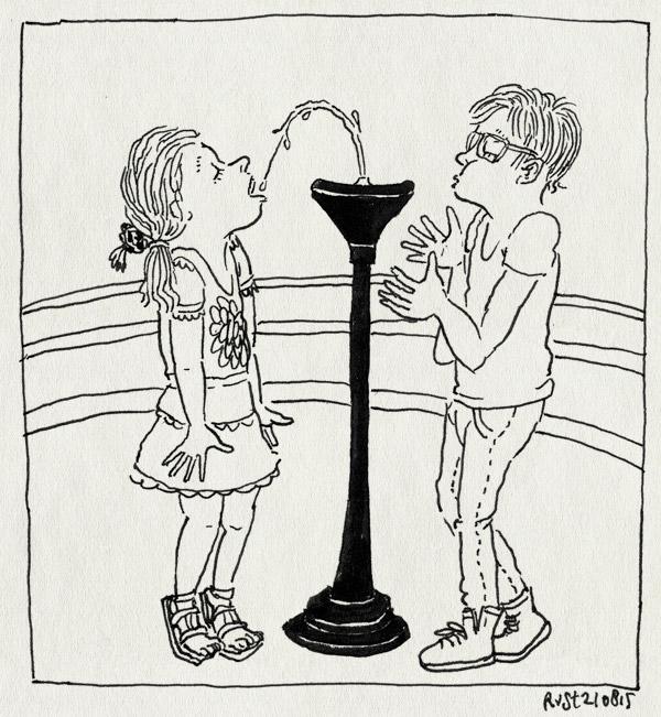 tekening 3010, alwine, beatrixpark, blazen, broer, drinken, fontein, fonteintje, midas, samenwerken, zus