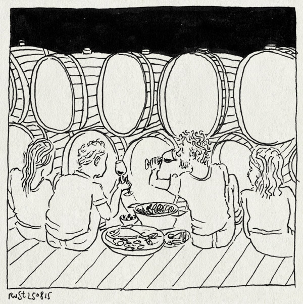 tekening 3014, alentejo, aveline, cees, eten, glas, picknick, portugal, proeven, quetzal, quinta do quetzal, reto, vaten, wijn, wijngaard, wijnproeverij, winery