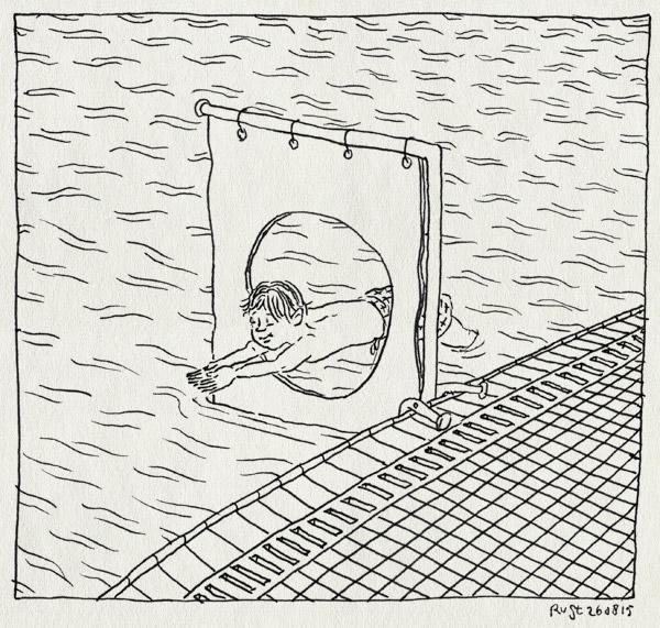 tekening 3015, de mirandabad, dolfijn, duik, gat, midas, overwinning, water, zwemles
