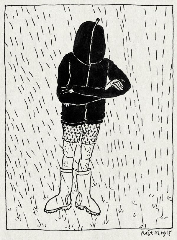 tekening 3022, boxershirt, into the great wide open, itgwo, itgwo15, laarzen, regen, regenjas, regenlaarzen, voorbereiding