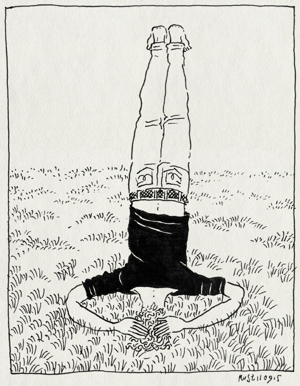 tekening 3031, arthur, beatrixpark, gras, handstand, oefenen, ondersteboven, op je hoofd staan, picknick, yoga