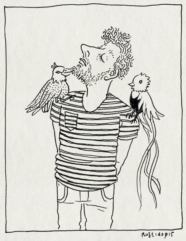 tekening 3034, druk, jeugdcultuurfonds, quetzal, streepjes, tegelijk, veel, vogel, vogels, werk