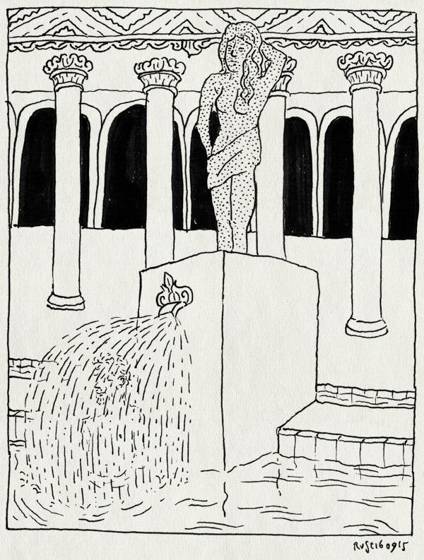 tekening 3036, badhuis, budapest, fontein, mirjam, pilaren, Szechenyi, trip, water