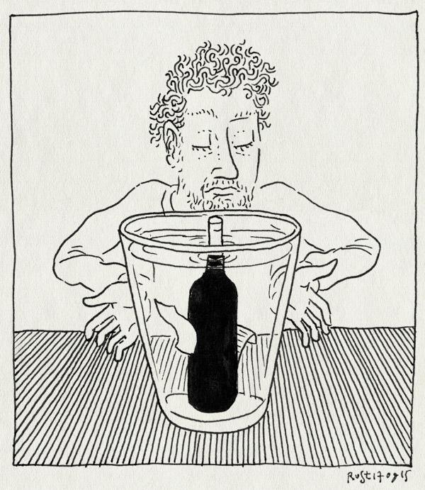 tekening 3037, etiket, quetzal, vaas, weken, werk, wijn, wijnfles