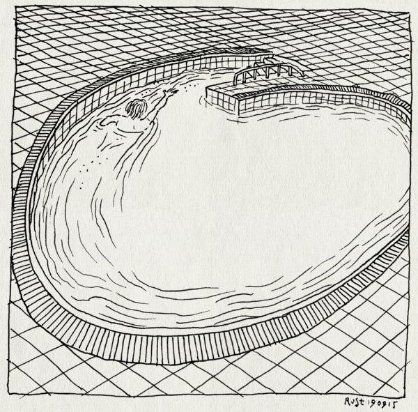 tekening 3039, draaibad, draaikolk, kolk, midas, mirandabad, sterk, stroming, tegeltjes, tegen de stroom in, water, zwembad, zwemmen