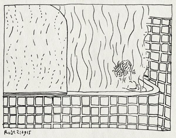 tekening 3041, bad, damp, heet, tegeltjes, thuis