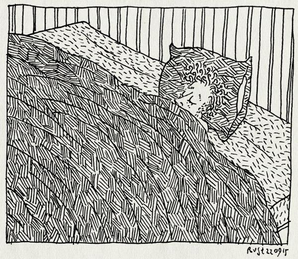 tekening 3042, alleen, bed, groot, leeg, slapen