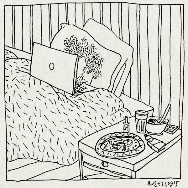 tekening 3043, bed, blegh, bordje, fruit, laptop, neusspray, zakdoekjes, ziek
