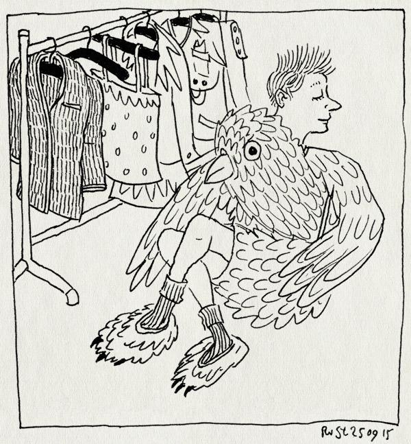 tekening 3045, boek, HIWBW, illustratie, jurian, kledingrek, kostuum, vogel, vogelkostuum