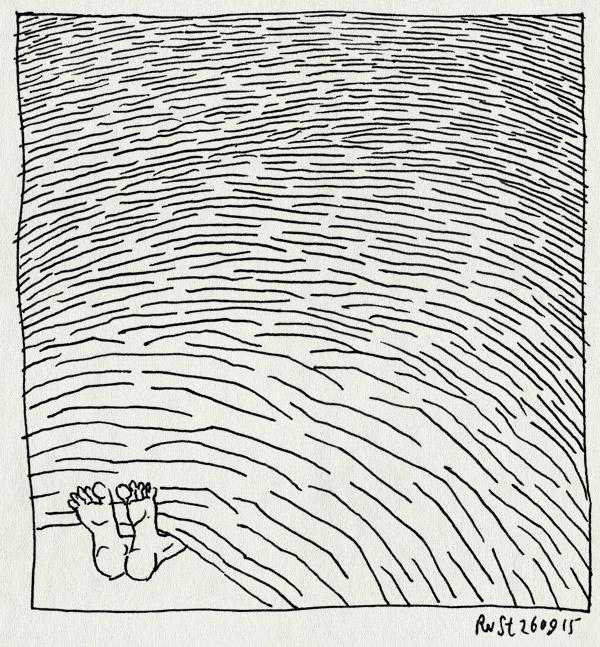 tekening 3046, bed, deken, oneindig, verstoorde proprioceptie, verstoppen, voeten, ziek