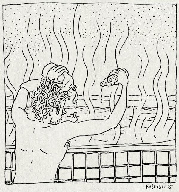 tekening 3063, bad, badolie, damp, klaarmaken, knijp, melkmeisje, spulletjes, torso