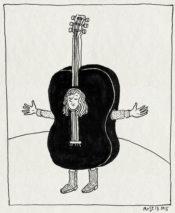 tekening 3067, alwine, bas, gitaar, optreden, pak