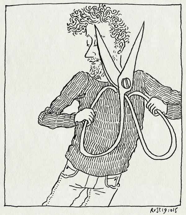 tekening 3069, chinees, groot, kapper, knippen, krullen, schaar