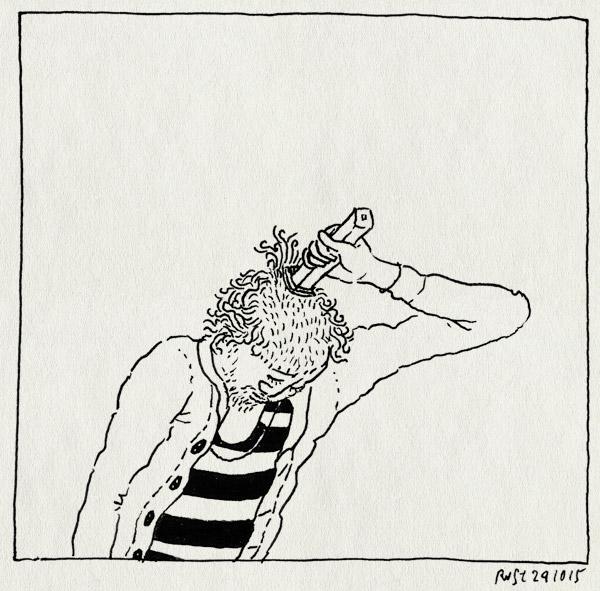 tekening 3074, clown, hoofd, kaal, kapper, pipo, scheren, tondeuse