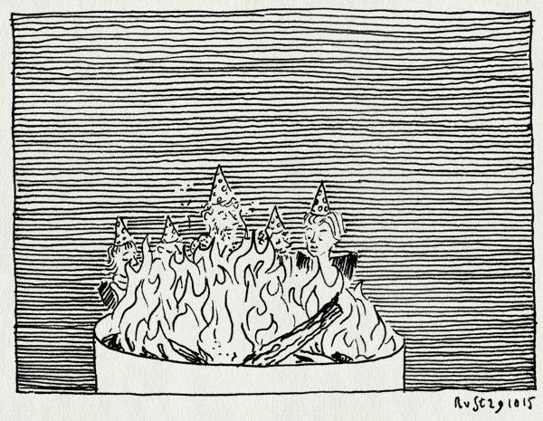 tekening 3079, hoedjes, roest, verjaardag, vuurkorf
