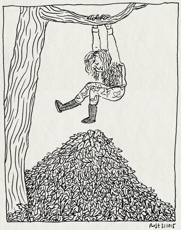 tekening 3081, alwine, berg, boom, hangen, herfst, hoop, tak, wohoo